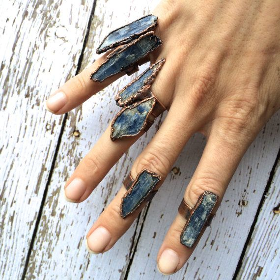 Raw Kyanite ring  Blue Kyanite crystal ring  by HAWKHOUSE on Etsy