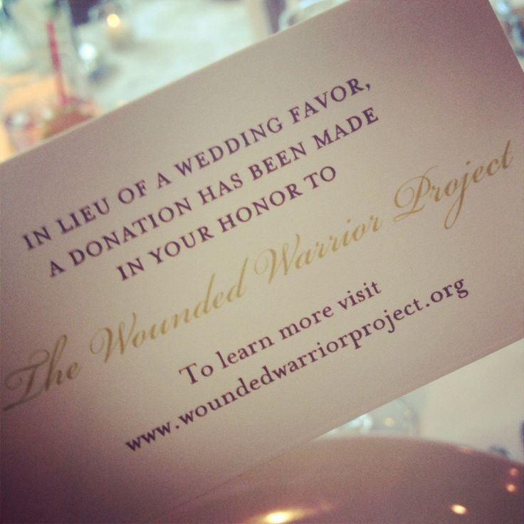 Instead of a wedding favor, give a donation to charity in the guest's name and print cards for the guests
