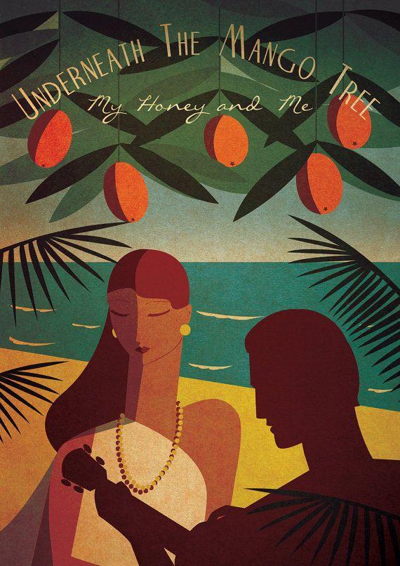 Art Deco Poster Vintage Print Vouge Fashion Romantic James Bond Dr No Tropical Holiday Hawaiian Seaside 1950's 1960's A3 Original Deisgn on Etsy, $20.16