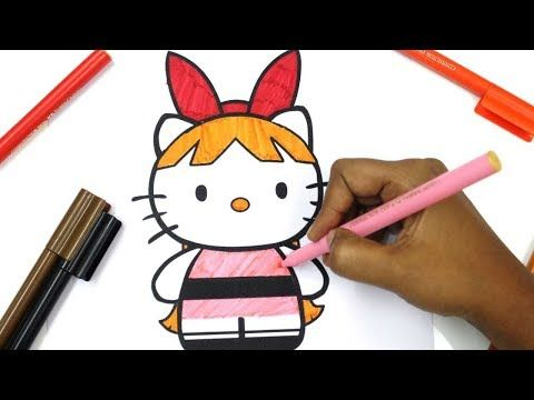 HELLO KITTY as powerpuff girls blossom, bubbles, buttercup Coloring Pages | How to Draw Hello Kitty - YouTube