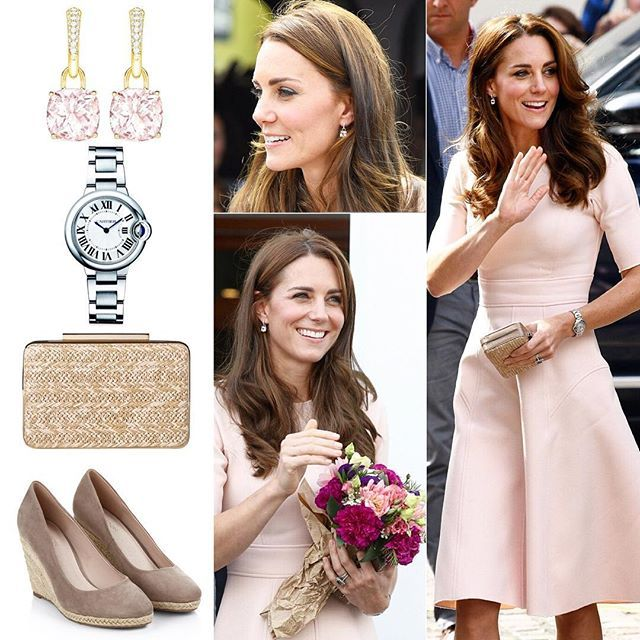 1 September 2016  Detail of Kate's ensemble . ⚜ £3,400 Kiki McDonough classic morganite and diamond cushion drop earrings . ⚜ £4,850 Ballon Bleu de Cartier watch . ⚜ £976 Lela Rose pale pink Resort 2016 dress . ⚜ £160 LK Bennet beige Natalie straw clutch . ⚜ £45 Monsoon taupe Fleur Espadrille wedges