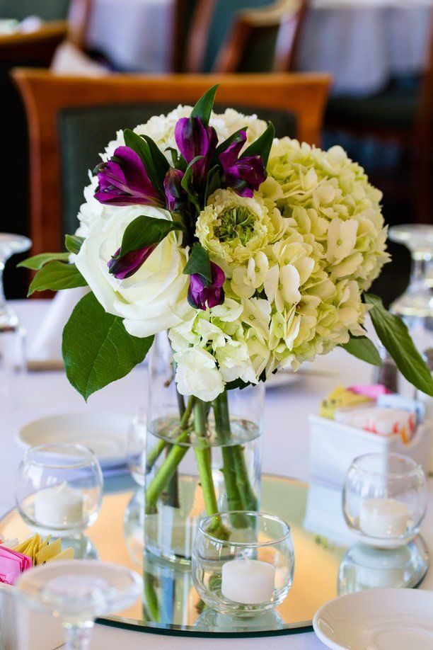 Diy wedding flower arrangement centerpiece with hydrangea