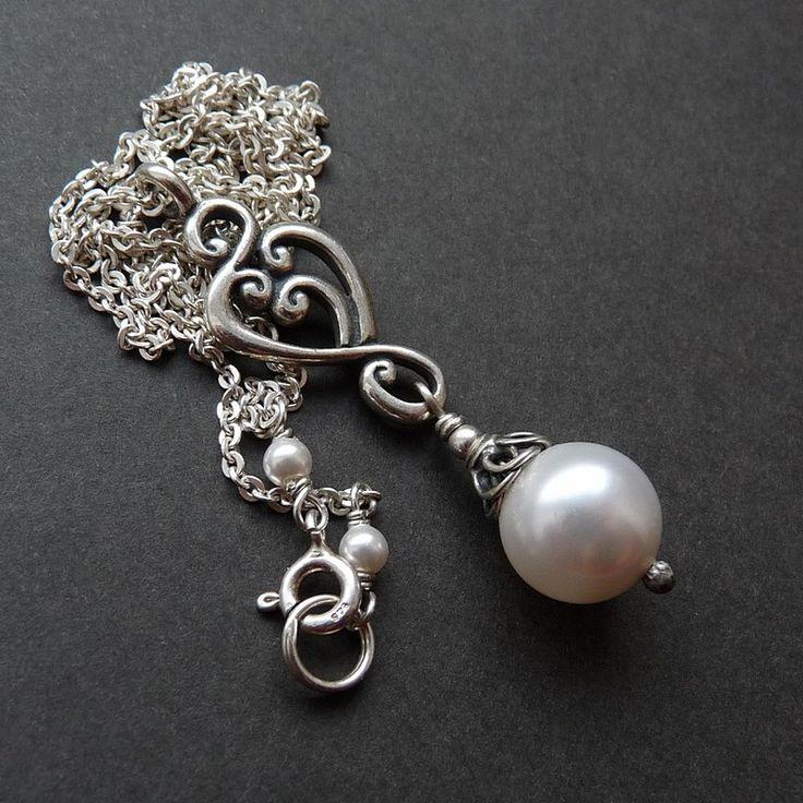 srebrny naszyjnik z perłą #silver #pearls #wedding cudosfera.pl