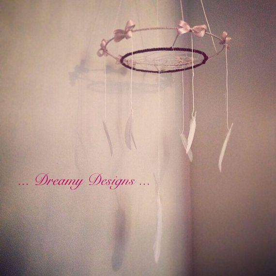 Dreamcatcher mobile  pink bohemian baby nursery by Dreamydesigns01