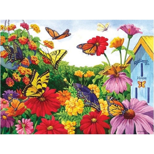 This Colorful Butterfly Garden Jigsaw Puzzle Features The Artwork Of Nancy  Wernerbach. The 1000