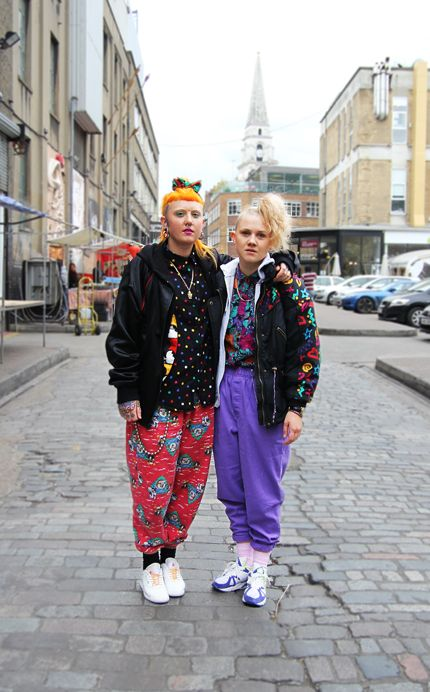 Sophie Gregson AKA Tuttii Fruittii & Emily Davey, pictured in Old Truman Brewery, Shoreditch. #streetstyle #reebok #reebokclassics #nike #hair #london #shoreditch #fashion #style #orangehair