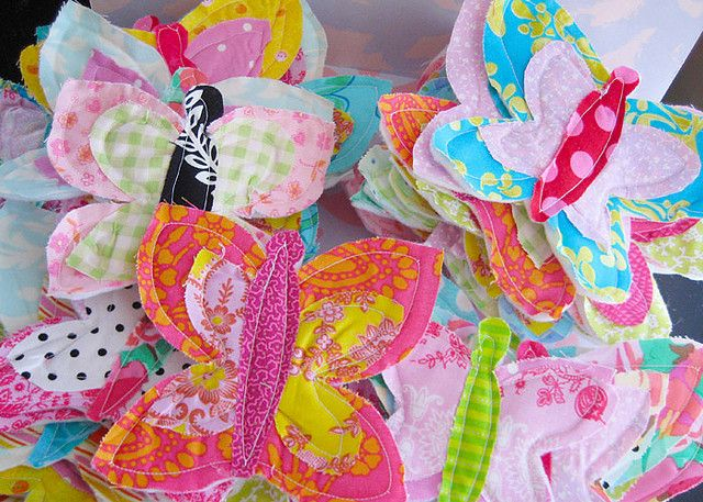 butterflies from fabric scraps..these are gorgeous! and perfect for a little girls room