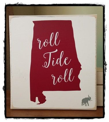 "University of Alabama Football Sign; Roll Tide Roll, 11"" x 10"", home decor, wall art, sports team art"