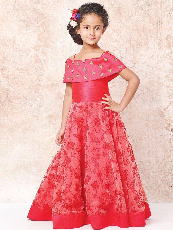 Red Designer Gown In Silk Fabric, girls gown