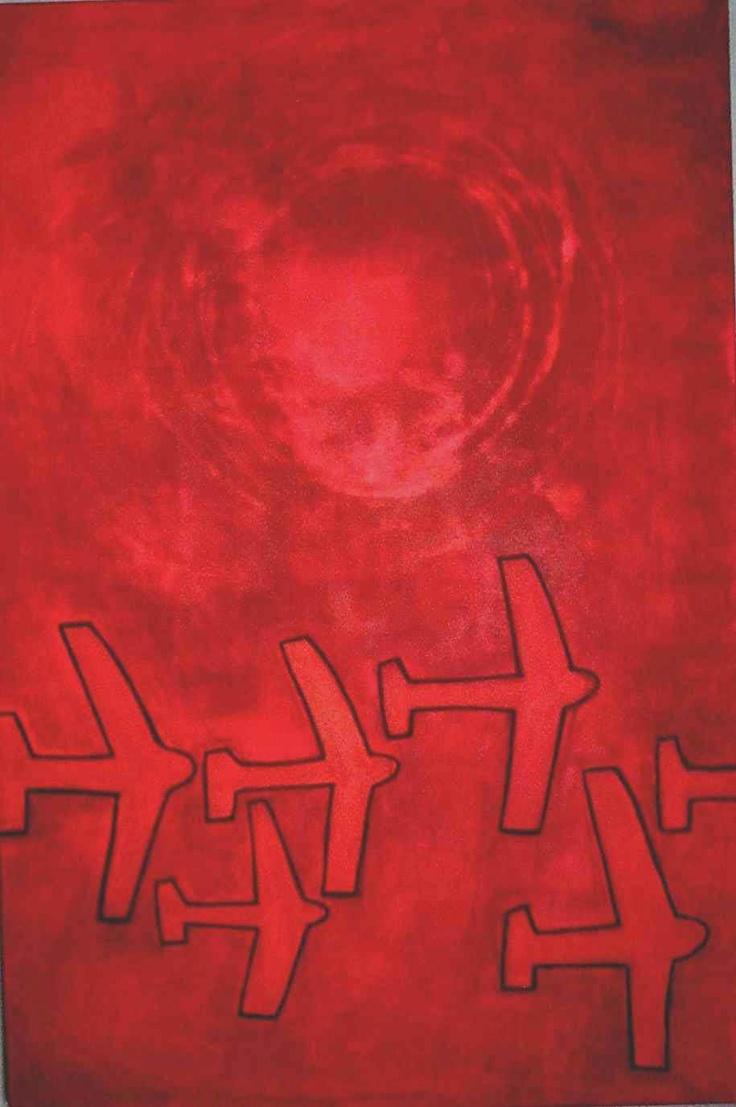 Rooi vliegtuie. Oil on canvas. 1mx1,5m.