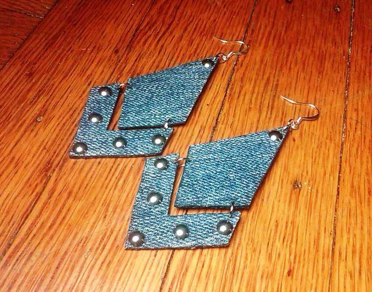 Denim Earrings- Broken Arrow Denim Jean Earrings