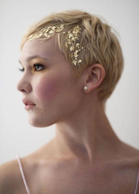Gold foiled hair sparkle for a pixie cut