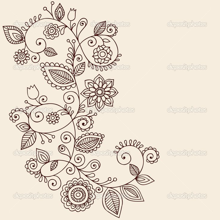 Mandala Tattoo Designs | Henna Tattoo Paisley Flowers and Vines Doodles Vector — Stock Vector ...