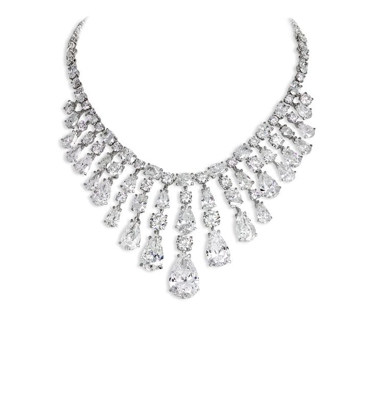 David Morris | Important diamond necklace comprising pear, oval & round brilliant-cut diamonds Total weight 102.81cts
