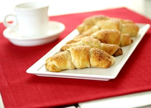 Cinnamon-Sugar Crescents  1 can store-bought crescent roll dough, such as Pillsbury  2 tablespoons butter, melted and slightly cooled  1 teaspoon cinnamon (or more if you like lots)  2 tablespoons sugar