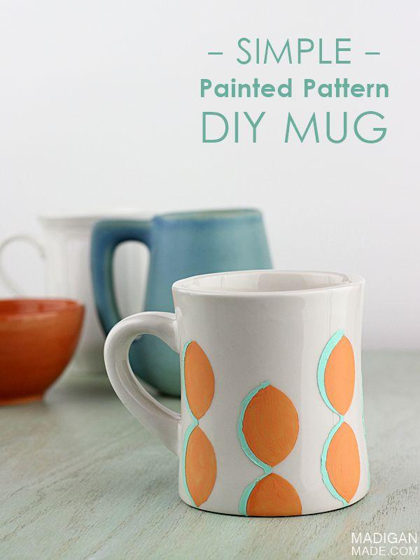 Diy simple and modern painted ceramic mug craft diy for Mug painting designs