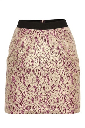 White Suede BAROQUE LACE INVERT SKIRT