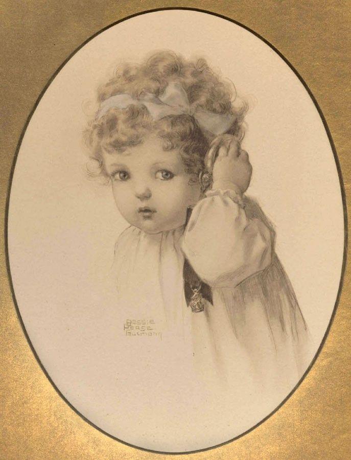 "bessie pease gutmann | Home / Bessie Pease Gutmann Original Print ""Hearing"" - 1909"