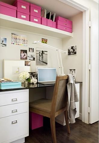 Love the idea of repurposing cliset space. Like shelves on top too.   VT Interiors - Library of Inspirational Images: Study Nook