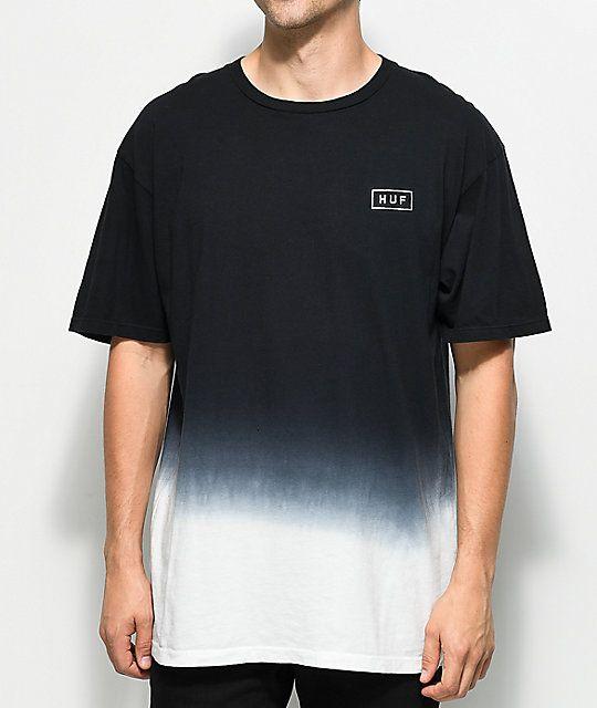 d0e0b2890 HUF Gradient Dip Dye Black T-Shirt in 2019 | Asian LB Look | Shirts ...
