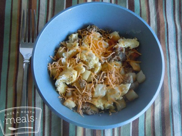 Better Than The Freezer Aisle: Copycat Jimmy Dean Sausage Breakfast Bowl - Once A Month Meals - Freezer Cooking - OAMC