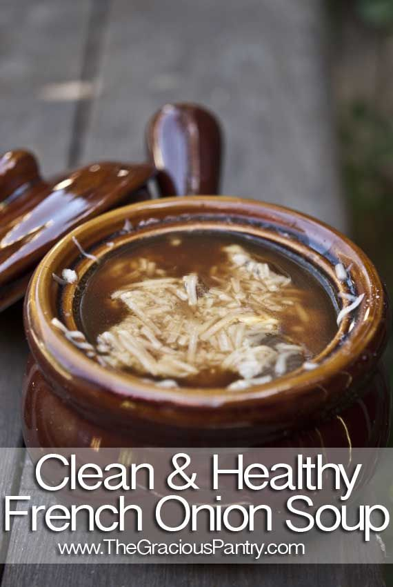 """Clean Eating French Onion SoupNote: Slice your onions thin. It makes the texture of the soup far more enjoyable. 4 cups beef broth (I used the organic """"Pacific"""" brand) 2 onions 1 tsp. balsamic vinegar 1 tbsp. olive oil Parmesan Cheese (optional – omit if Paleo)"""