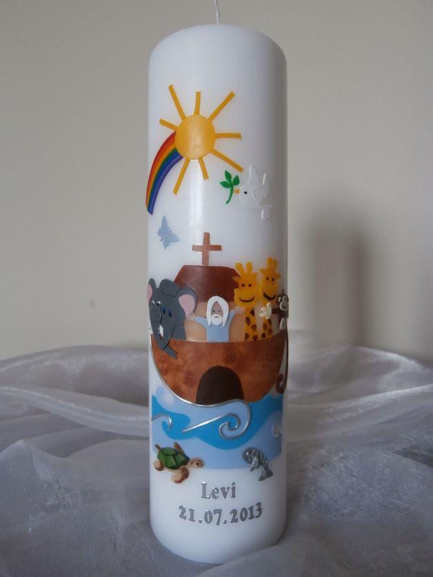 Taufkerzen - Taufkerze Arche Noah - ein Designerstück von Lumina74 bei DaWanda