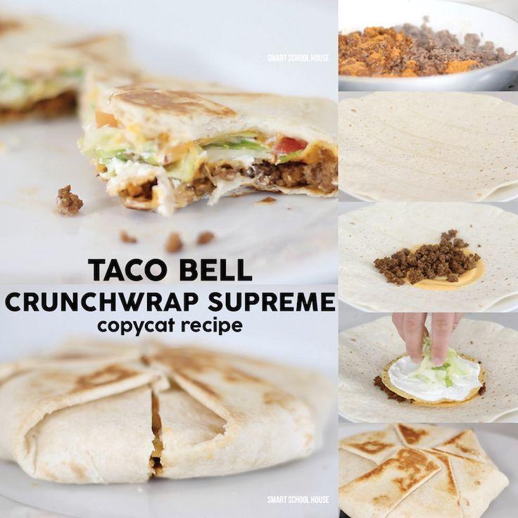 DIY Taco Bell Crunchwrap Supreme copycvat recipe to make a home. Saving this!