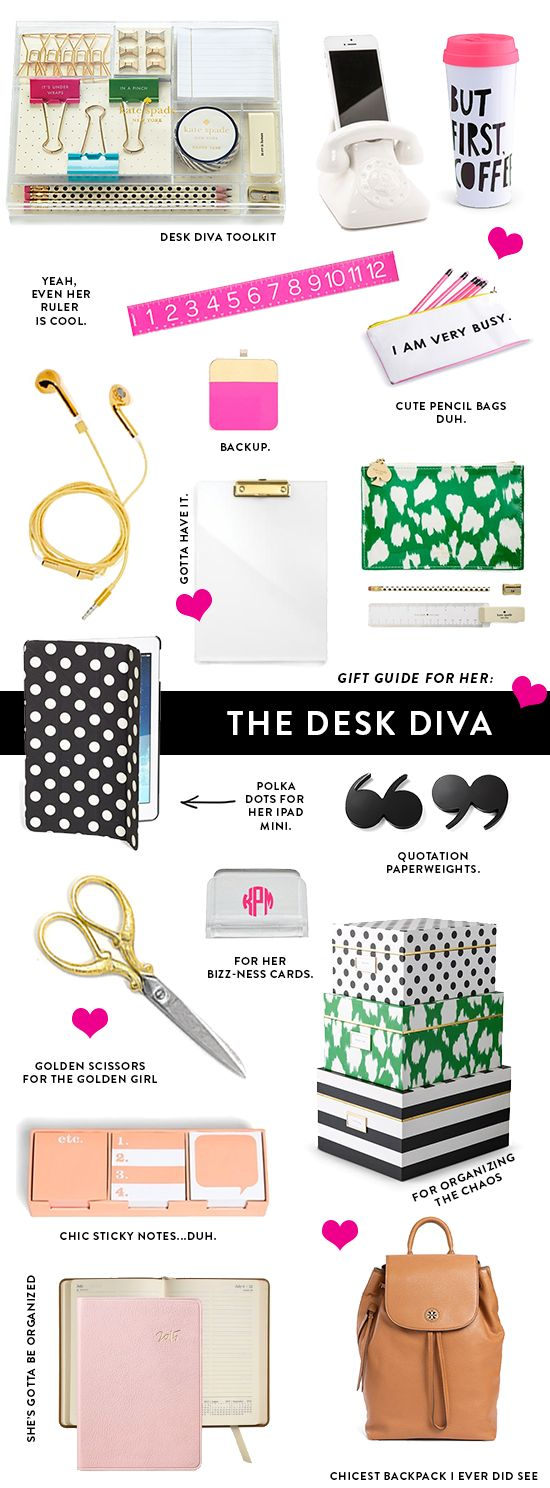 I've rounded up some super cute and fun desk accessories to inspire some gift-giving ideas for the ladies who love a pretty and organized desk/office area!