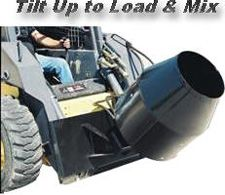 """The Heavy duty Mix-n-Place Skid-Steer Drum Mixer is the easily affordable way to mix small volumes of concrete and then place it anywhere it is needed. The mixer is powered by a strong hydraulic motor that mounts to an extra heavy duty carrier bearing. This rugged bearing safely carries the load while protecting the hydraulic motor and seals. A heavy duty universal skid-steer quick-tach along with 3/8"""" plate mounting components ensure it will stand up on any job."""