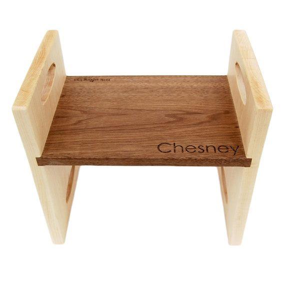 modern kids step stool personalized walnut by littlesaplingtoys