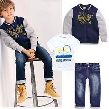 3PCS Toddler Infant Baby Boys Coat+T-Shirt+Denim Pants Kids sports clothes Set