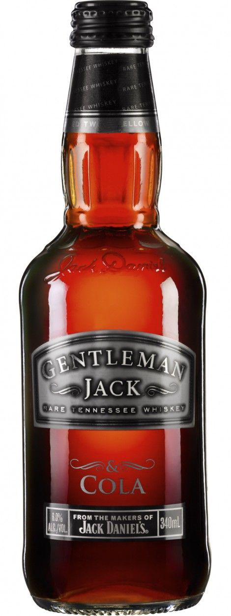Gentleman Jack & Cola. Not a fan of the premixed product but I dig this bottle.