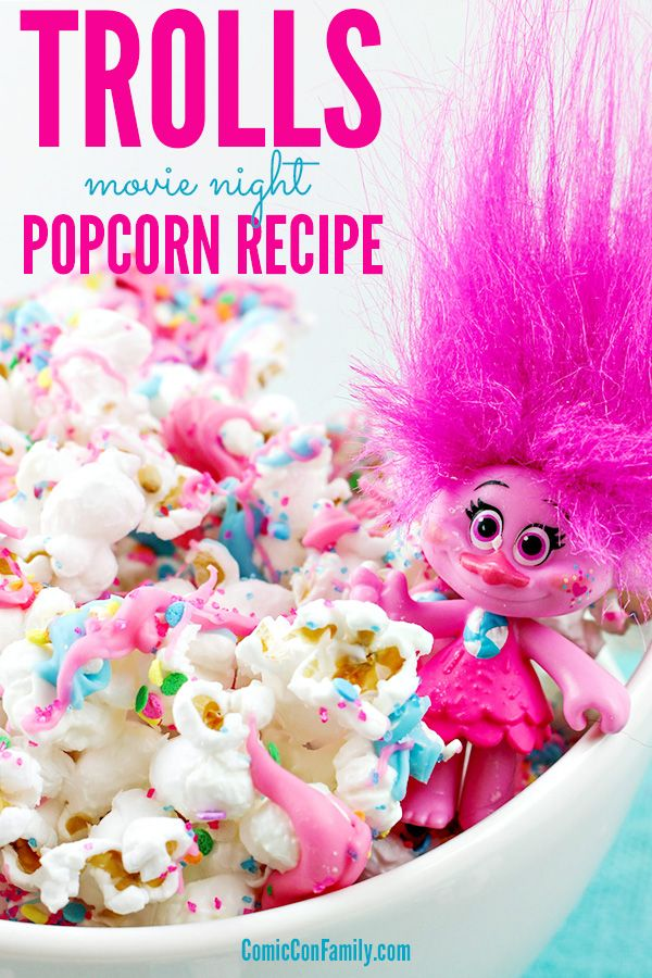 Have kids that love the Trolls movie? Here's a fun Trolls Movie Night Popcorn recipe – perfect for family fun night, birthday parties or slumber parties!