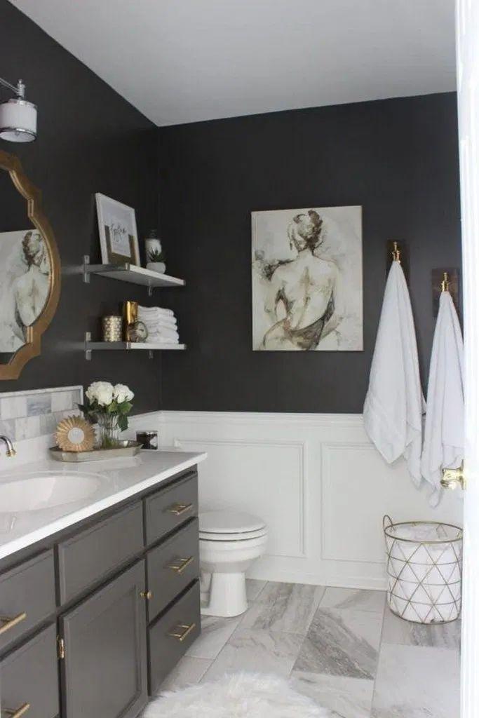 Half Bathroom Decor 49 Guest Bathroom Reveal Links To Decoration Housemoes Ba In 2020 Elegant Bathroom Trendy Bathroom Bathrooms Remodel