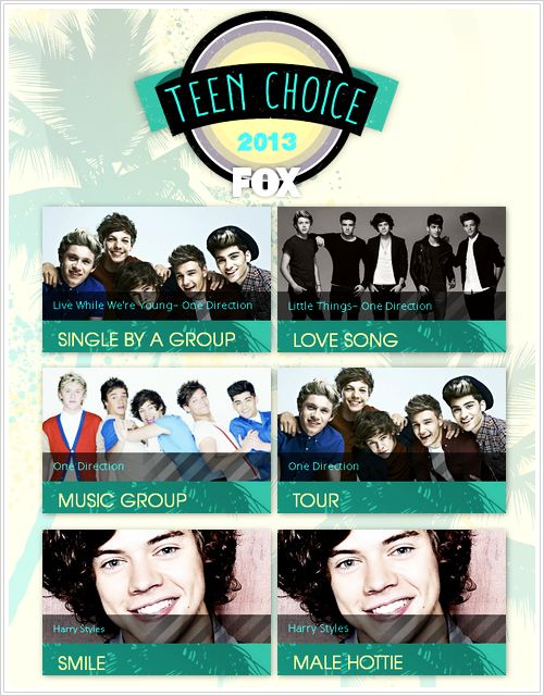 Please do not forget to vote for one direction for the teen choice awards 2013 !!!!