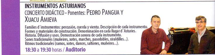 Instrumentos Asturianos. Pedro Pangua y Xuacu Amieva, día 23 de febrero de 2016. Jornadas Culturales. Conservatorio Profesional de Música de Oviedo.