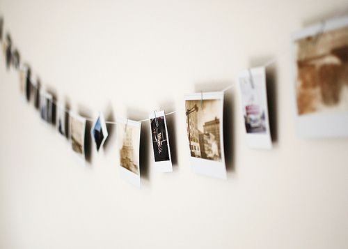 a string of polaroids.
