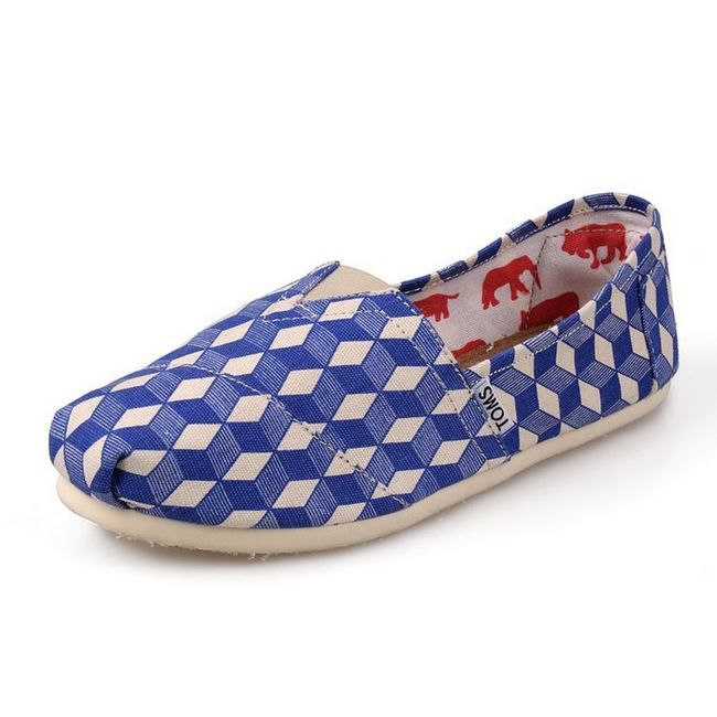 New Arrival Toms women shoes Geometric graffiti blue