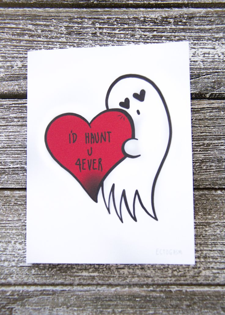 """091ca86381ebabe1088480a746907351 -""""I'll Haunt You Forever"""" gothic Valentine's Day card with a ghost and a ..."""