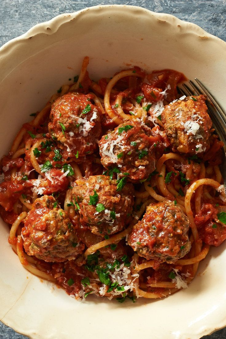 NYT Cooking: This fast version of spaghetti and meatballs with red ...