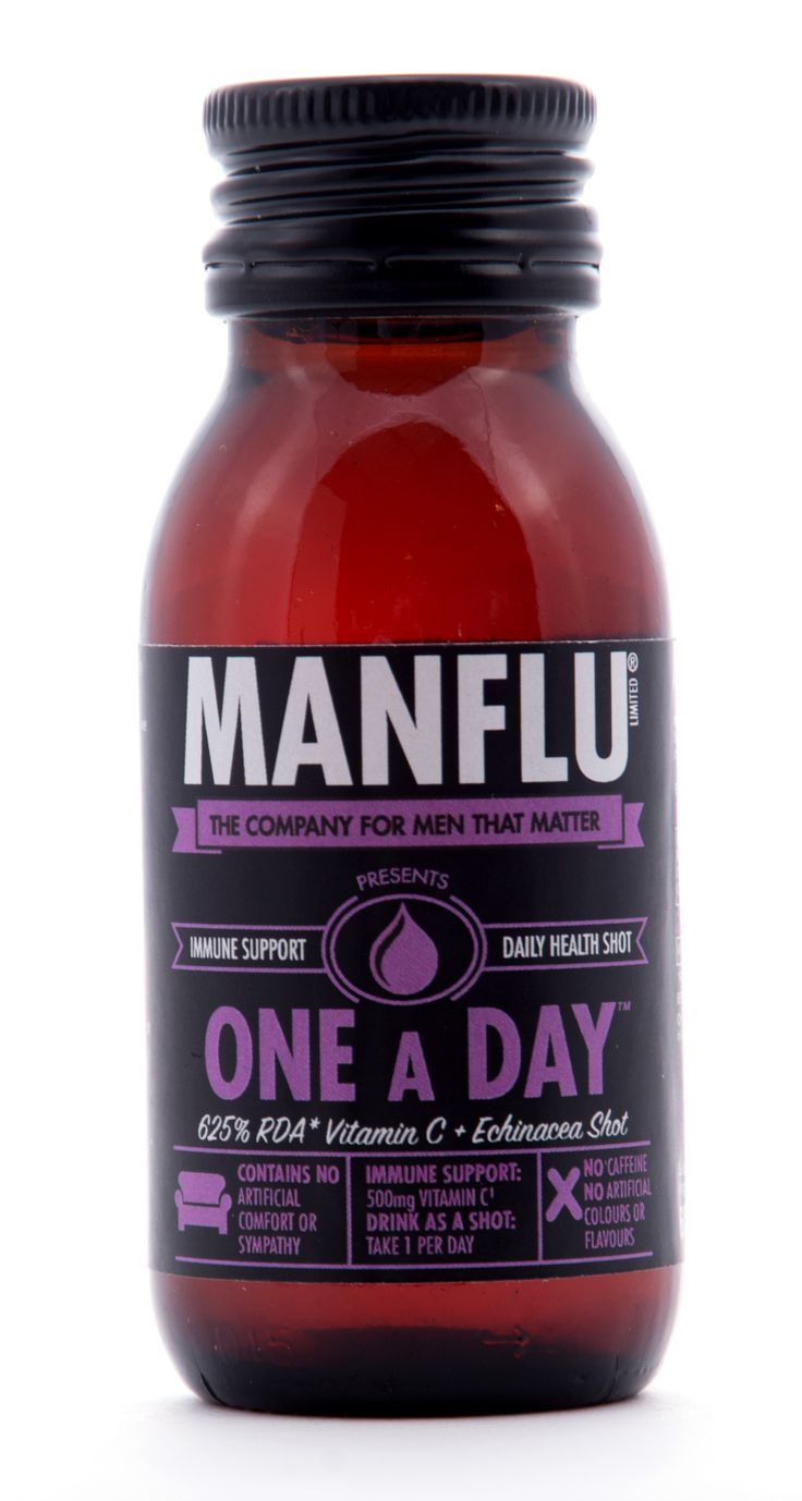 'One a Day' comforting Blackcurrant  Honey shot drink with 625% RDA Vitamin C + Echinacea, from MANFLU Ltd.
