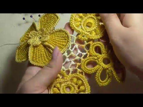 Видео-урок. Как вязать сеточку с узелками в ирландском кружеве.