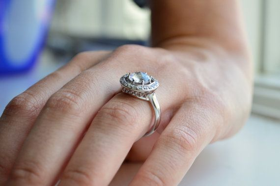 1.25ct Silver Engagement Ring Micropave Halo Setting by barargent