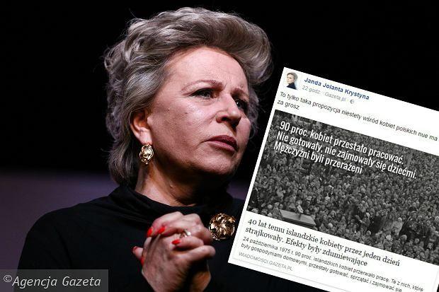 """Nadal trwa """"czarny protest"""" kobiet po ostatnim posiedzeniu Sejmu w piątek, na którym większość sejmowa odrzuciła projekt """"Ratujmy kobiety"""", liberalizujący przepisy dotyczące aborcji, a przekazała do dalszych prac projekt """"Stop aborcji"""", drastycznie zaostrzający przepisy. Głos w dyskusji zabrała także aktorka Krystyna Janda, która zaproponowała na Facebooku nietypowy protest. - To tylko taka propozycja, niestety wśród kobiet polskich nie ma solidarności za grosz - napisała aktorka i…"""