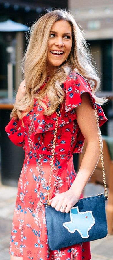 pretty spring outfits /  Red Printed Dress / Navy Shoulder Bag