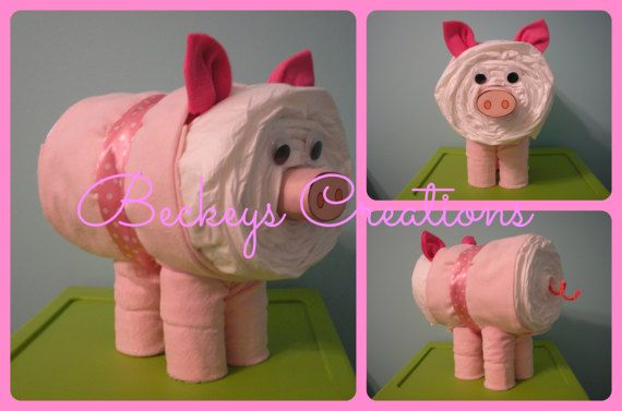 ((( If this isnt what youre looking for Check out my other items at BeckeysCreations.etsy.com ))) Great Gift or Centerpiece for a Farm Animal Themed Baby Shower... Diaper Pigs- Approximately 9 inches tall and 10 inches long. Consists of brand new receiving blanket, 6 infant washcloths, and 30 useable disposable diapers (12-18lbs) I use a larger size so Mom can enjoy/display Pig in nursery until needed. All Diaper Pigs will be wrapped in a clear cello bag with coordinating curling ribb...