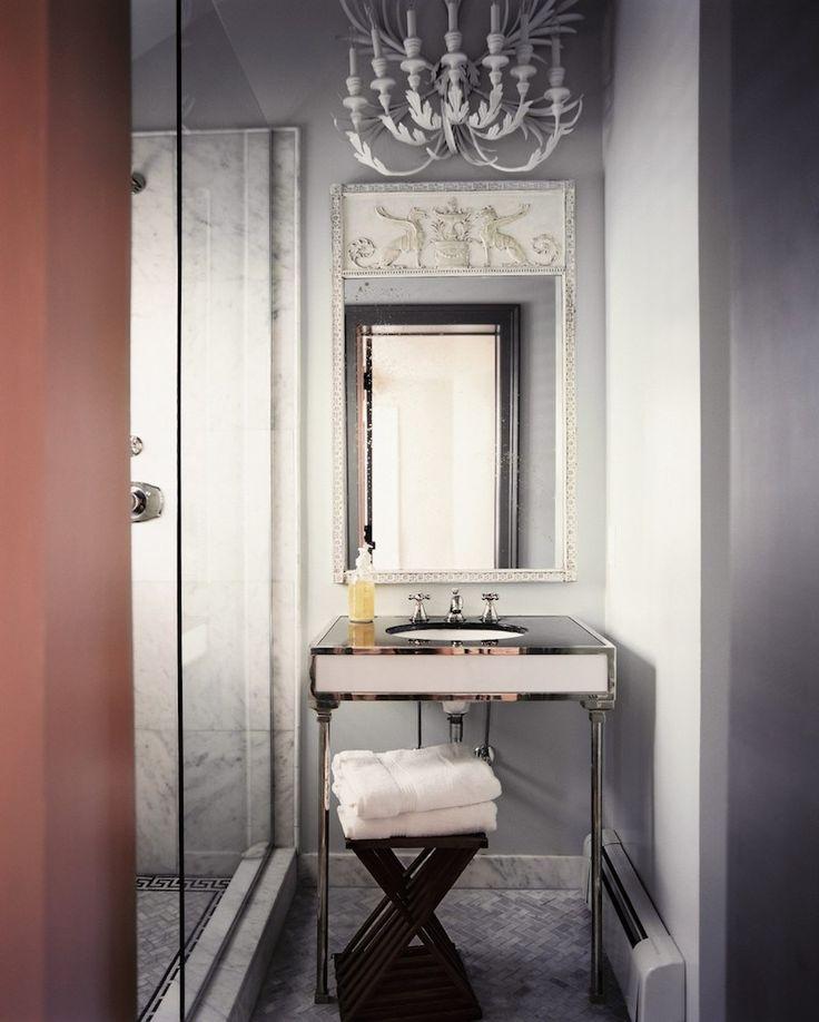 Grey Bathroom White Chandelier SAG Harbor Cottage