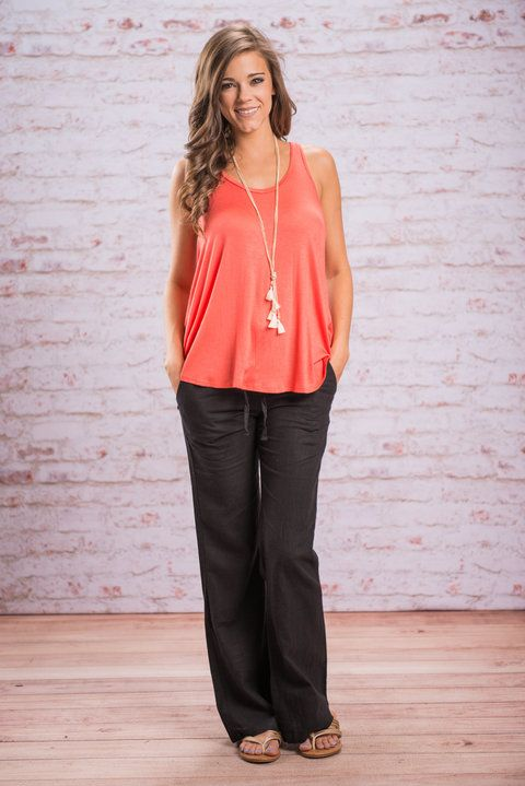 Love And Relaxation Pants, Black || The linen pants you love are back in a brand new color! You are going to love how relaxed you are in these linen pants! The top is elastic and tied so you know they are going to be a dream to wear! Plus, you know that spring and summer call for linen pants!