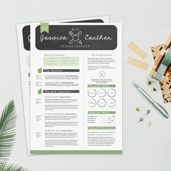 "Teacher Resume CV Design + Cover Letter Template for Word | Instant Digital Download | The ""Miss Sunshine"""